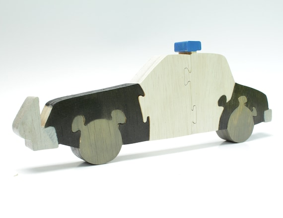 Children's Wood Police Car Puzzle and Decor - Kids Educational Game