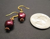 I love you in Dyed Red Pearl and Copper earrings