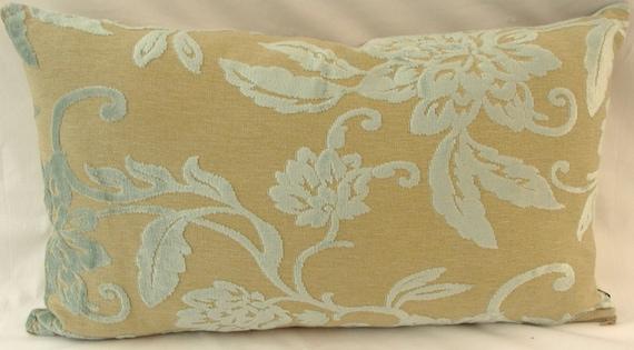 "Laura Ashley ""Tivoli"" fabric cushion with duck egg blue cut pile velvet, with plain beige reverse"