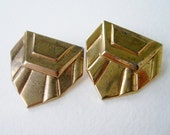 Vintage 80s Art Deco Hipster Goldtone Geometric Triangle Trapezoid Earrings