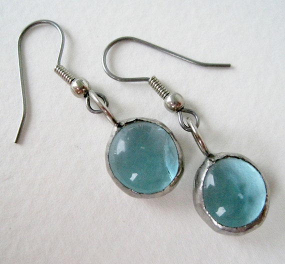 Vintage Minimalist Modern Silvertone Translucent Pale Turquoise Glass Bauble Dangle Earrings