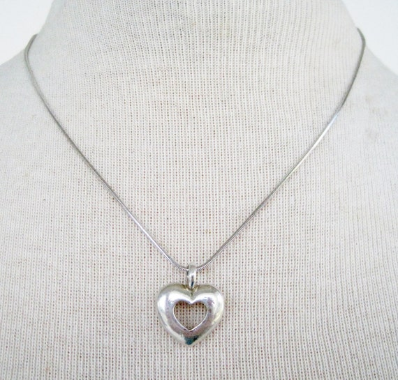 Vintage 80s Traditional Modern Silvertone Snake Chain with Open Cut Heart Pendant