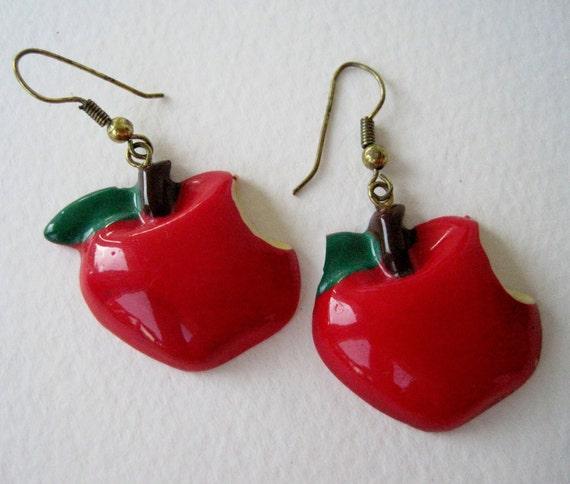 Vintage 80s Kawaii Kitsch Bitten Apple Dangle Earrings
