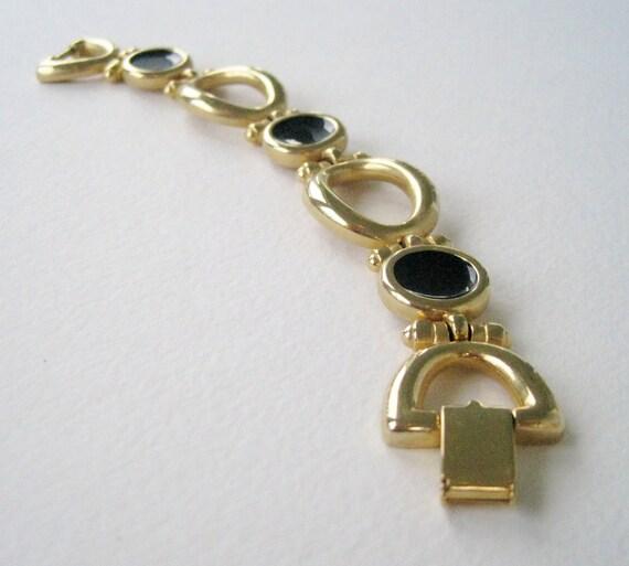 Vintage 80s Retro Nautical Goldtone Black Enamel Ling Bracelet
