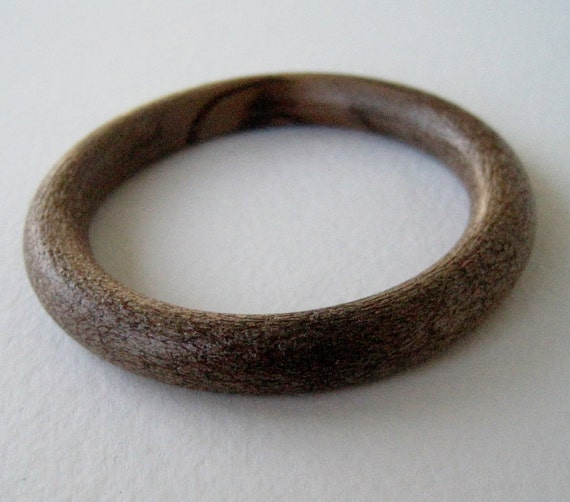 Vintage 70s Rustic Primitvie Signed Hong Kong Child's Small Faux Wood Wooden Bangle Bracelet