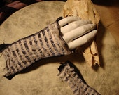 The Sluagh's Hand - tatterpunk gothic gloves/ arm warmers in black with tea-dyed lace and stripes