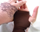 Freyja - Tatterpunk Valentine Lolita Gloves Steampunk Arm Warmer in stretch mauve lace and brown knit