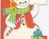 C96 Vintage Unused Child's Christmas Greeting Card  for you Teacher - Glittered Snowman