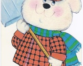 C103 Vintage Unused Child's Christmas Greeting Card  for Daddy- Santa Fuzzy Bear with shovel