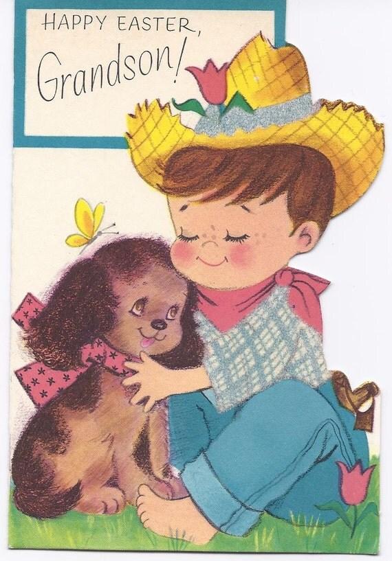 E 58 Vintage Used  Easter Greeting Card Grandson Boy & Dog Die Cut