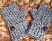 Crochet fingerless gloves in grey, wrist warmers-Winter Gloves