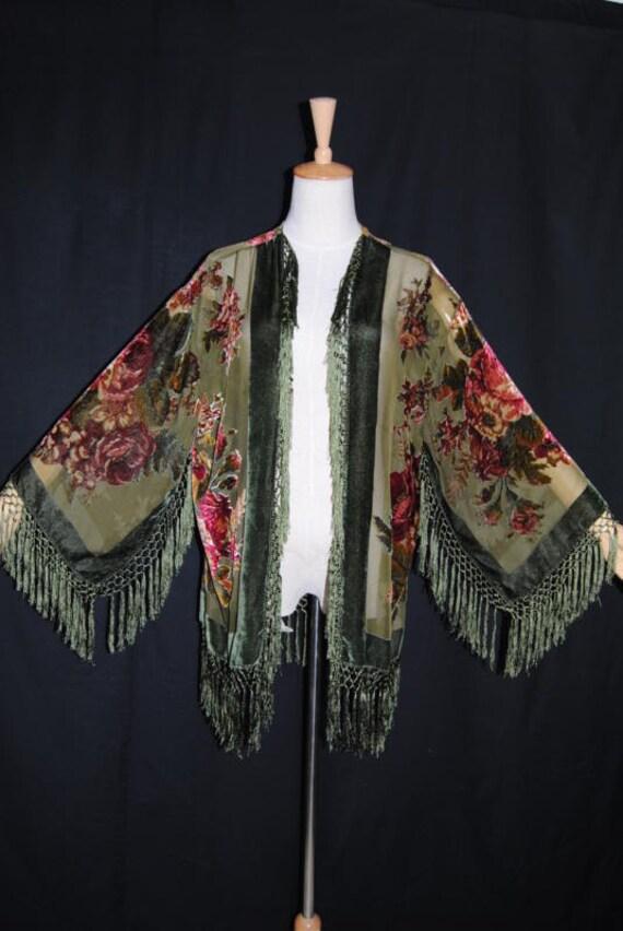 Velvet silk rayon burnout kimono jacket olive green peony roses 20s 30s style