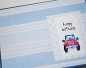 Happy Birthday Jeep in baby blue stripes and polka dots