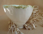 FREE SHIPPING White Porcelain Bowl, Hand Formed - One Of A Kind,       Heirloom Quality, Signed