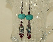 Turquoise globe red rhinestone earrings