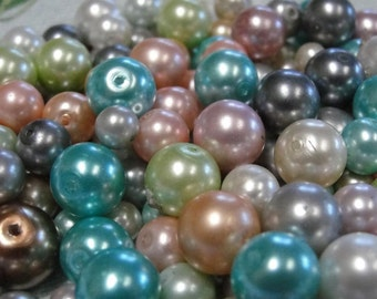 Glass pearls - mixed sizes, colors
