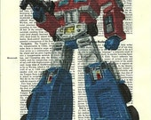 Transformers Optimus Prime Vintage Dictionary Altered Page Art