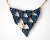 Blue and silver-gold little triangle, leather necklace