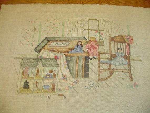 """Unframed, finished Cross Stitch, Paula Vaughan's """"A Little Girl's Fancy"""""""