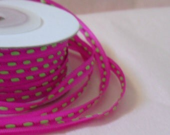 "Thin Ribbon Spool is Fuchsia with Apple Green stitch print...1/8"" X 25 yards"
