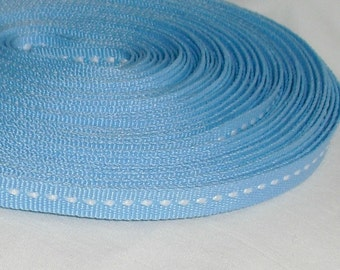 "Ribbon / Light Blue Ribbon / Stitched 1/4"" X 8 yards"