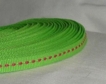 """Destash Apple Green / Fuchsia Ribbon ...1/4"""" X 5 yards"""