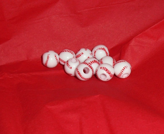 Baseball Beads Set of 10