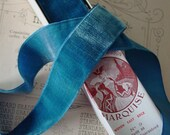 Simply GORGEOUS, Antique early 1900s rayon velvet ribbon in Delft Blue, one yard