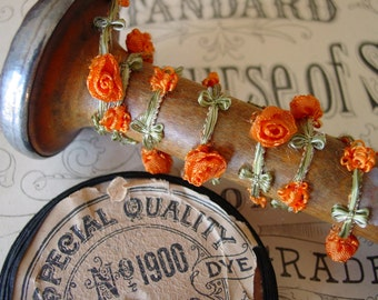 Antique early 1900s-20s beautiful FRENCH rococo rosette silk and rayon ribbonwork trim with lovely orange roses