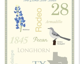 """Texas State Pride Series 11x14"""" Poster"""