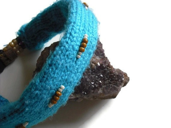 Artsy Knitted Dog Accessories, Aqua Blue Dog Collar Cover, Beaded Collar