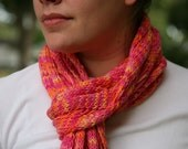 """Hand Knit Cotton Scarf or Shawl - """"Summer Sunset"""""""