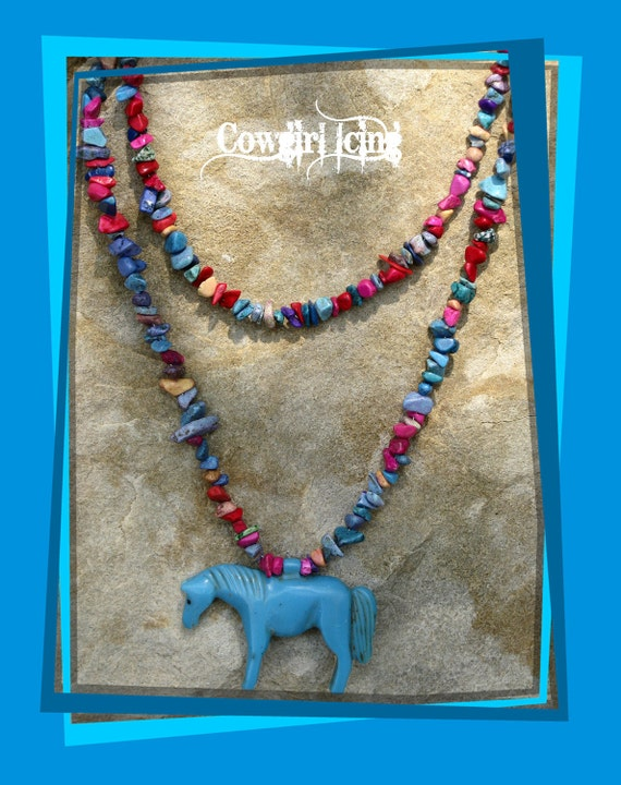 Western Cowgirl Beaded Turquoise Horse Pendant Necklace