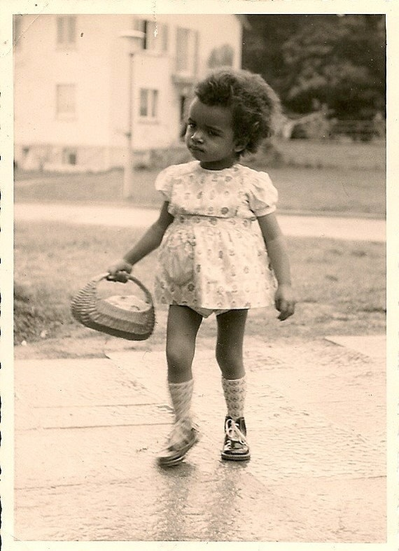 Gift Basket For Teenage Girls: 1940's Photo .Little African American Girl Holding Basket