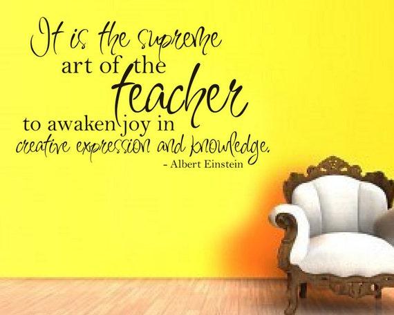 wall decal teacher quote einstein by villagevinepress on etsy