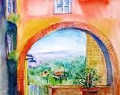 Tuscany, Medieval fort, Massa,- Original Watercolour painting- SALE.
