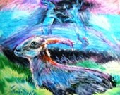 Mad March Hares - Original Oil Pastel Painting