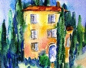 Tuscan  Villa with Cypress Trees - SALE Original watercolour with mat