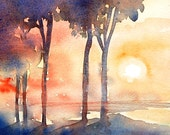 Italian Evening ,  - Original Watercolour  - art SALE-  sunset Italy