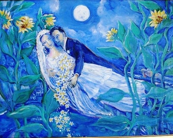 Lovers and Sunflowers - Original Acrylic  painting on canvas  - framed or unframed
