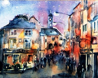 Nightfall  Kilkenny High St. Ireland  -Print (A5 size) 6 x 8 ins with free mat