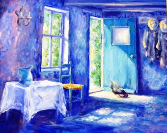 """Oil Painting """"Summer Morning"""" Original on Canvas - unframed art  20 x 20 inches ( 51 x 51 centimetres ) Impressionist style"""