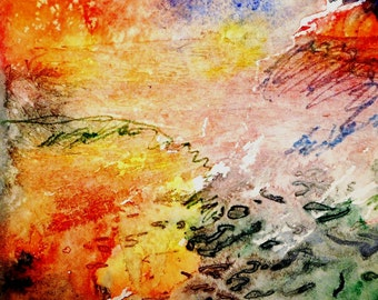 "SALE ""A Memory of Summer""   - Original Abstract Art   -  Watercolour and watercolour pencils"