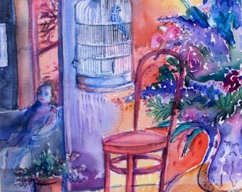 "Watercolour ""Memory of Hot July ""- Original Abstract painting, garden party, flowers, summer heat, sunset -"
