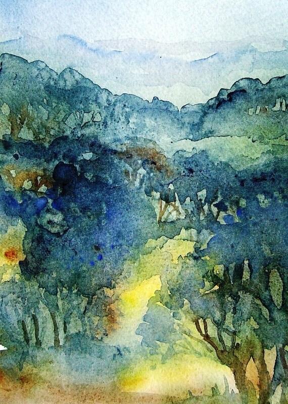 Misty Woodland Ireland  - RESERVED   watercolour painting -original.