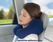 Ergonomic Neck Pillow For Travel, Cream Color, Anti-pil Fleece, Fiber Fill, Size Medium