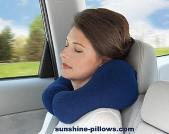 Ergonomic Neck Pillow For Travel, Cream Color, Anti-pil Fleece, Fiber Fill, Size Medium