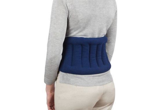 Microwaveable Lower Back Heating Wrap With Straps, Anti-Pil Fleece, Navy Blue, Flax Seed Filled, Tie Around Your Waist