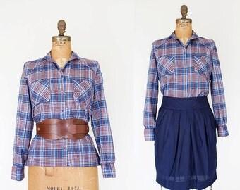 1970s Shirt - 70s Shirt - Plaid Button Up