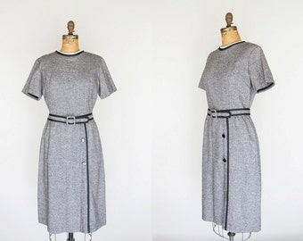1960s Dress - 60s Dress - Black And White Tweed Dress